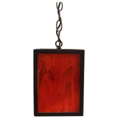 2010s Mid-Century Modern Style Iron Lantern Pendant Light with Stained Glass
