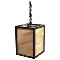 2010s Mid-Century Modern Style Iron Lantern Pendant Light with Tan Stained Glass