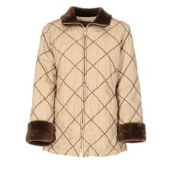 2010s Moncler's goose down beige quilted coat with contrasting faux fur details