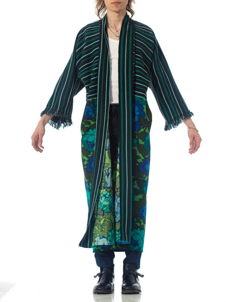 2010S Morphew Collection Cotton Duster Coat Made From African Indigo & 1960S Floral Upcycled Fabrics