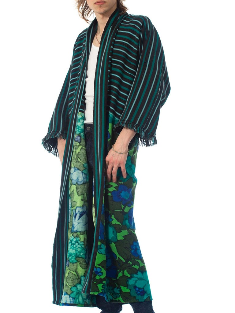 2010S Morphew Collection Cotton Duster Coat Made From African Indigo & 1960S Flo For Sale 2