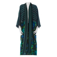 2010S Morphew Collection Cotton Duster Coat Made From African Indigo & 1960S Flo