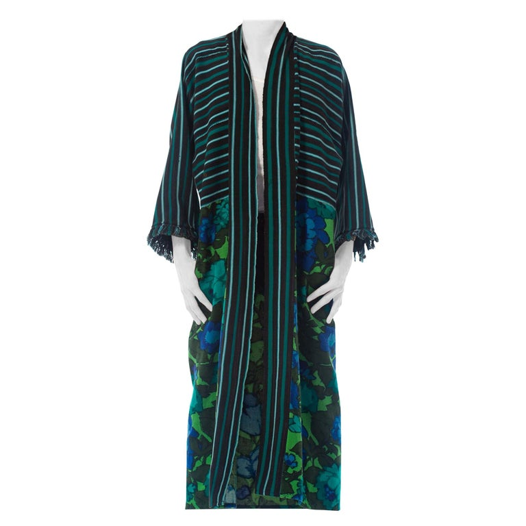 2010S Morphew Collection Cotton Duster Coat Made From African Indigo & 1960S Flo For Sale