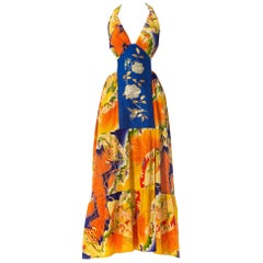 MORPHEW COLLECTION Orange & Blue Gown Made From 1930S Kimono Silk With Slit