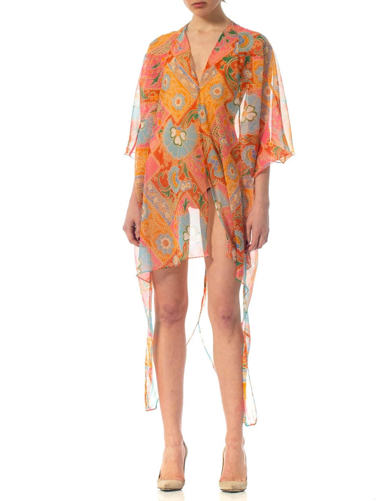 2010S Morphew Collection Psychedelic Polyester Organza Duster In Excellent Condition For Sale In New York, NY