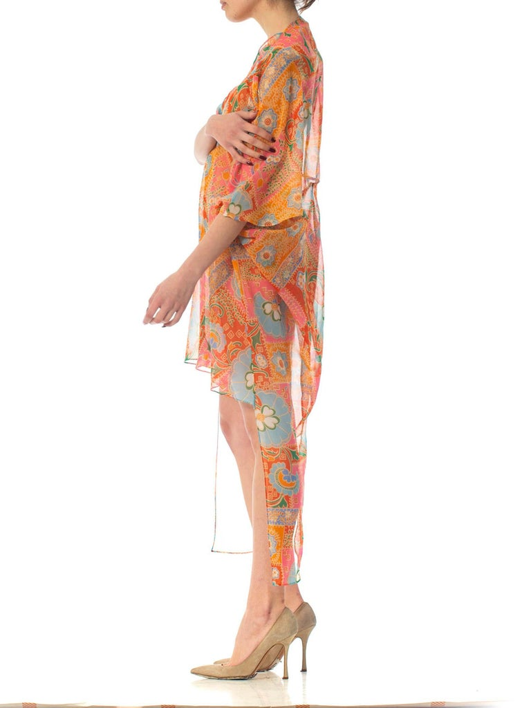 Women's 2010S Morphew Collection Psychedelic Polyester Organza Duster For Sale