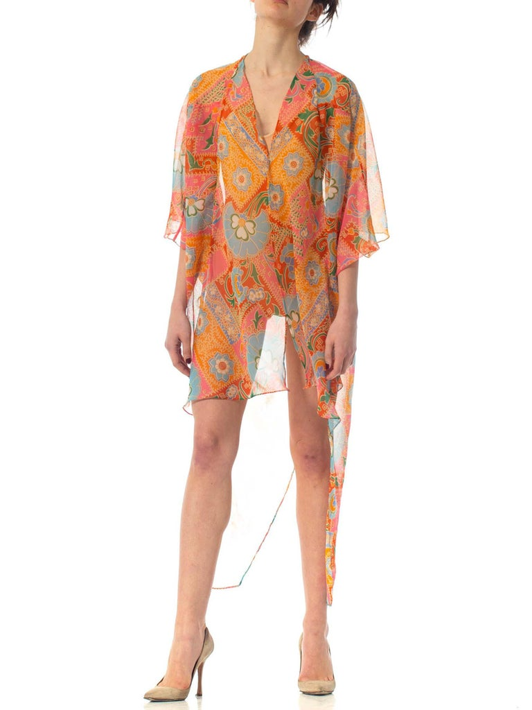 2010S Morphew Collection Psychedelic Polyester Organza Duster For Sale 1