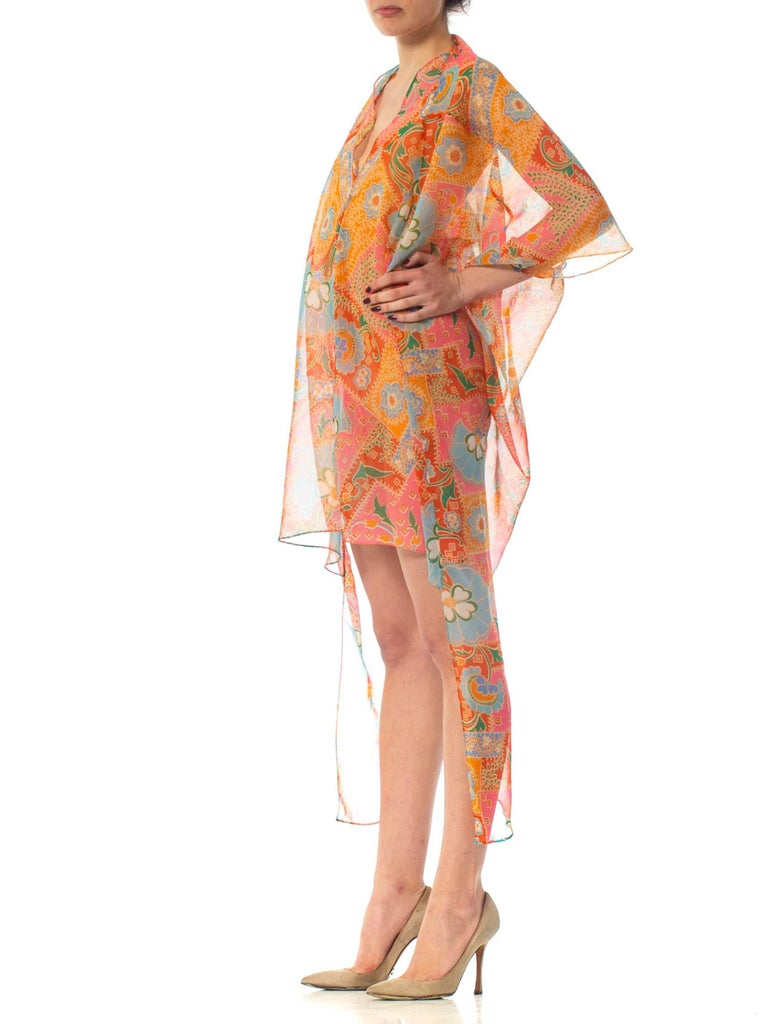 2010S Morphew Collection Psychedelic Polyester Organza Duster For Sale 2