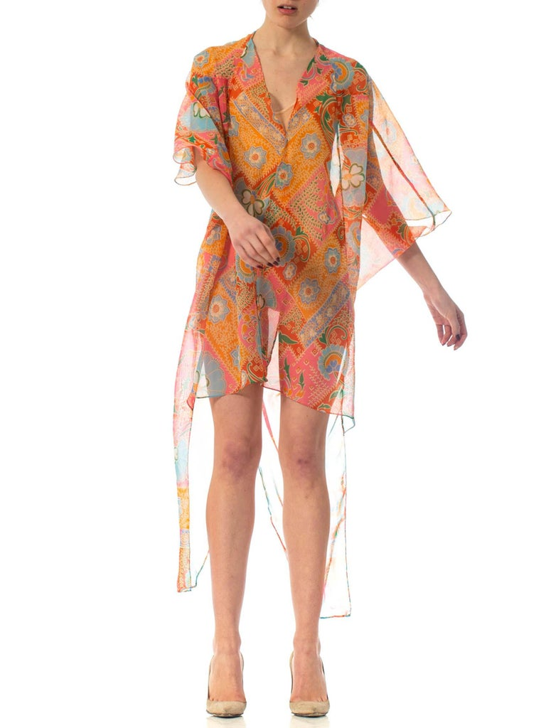 2010S Morphew Collection Psychedelic Polyester Organza Duster For Sale 3