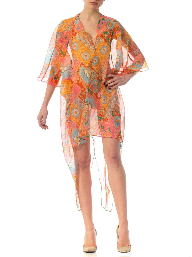 2010S Morphew Collection Psychedelic Polyester Organza Duster For Sale 4