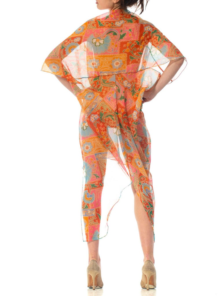 2010S Morphew Collection Psychedelic Polyester Organza Duster For Sale 6
