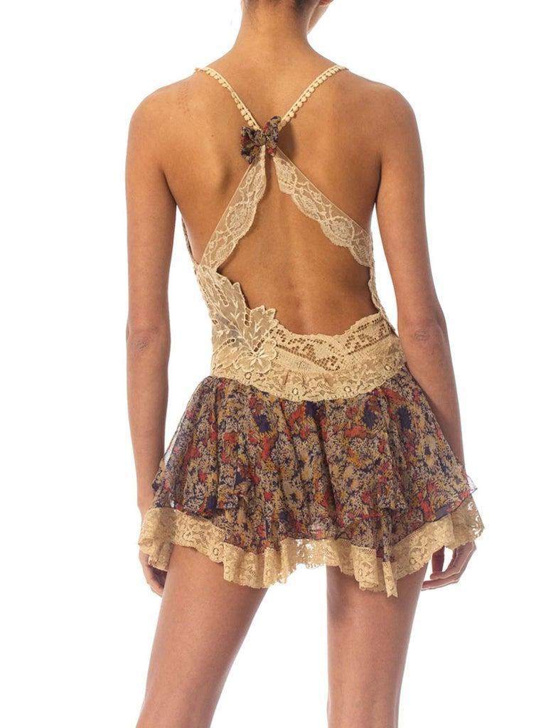 2010S Morphew Collection Silk Chiffon & Victorian Lace Mini Dress Entirely Sewn  For Sale 6