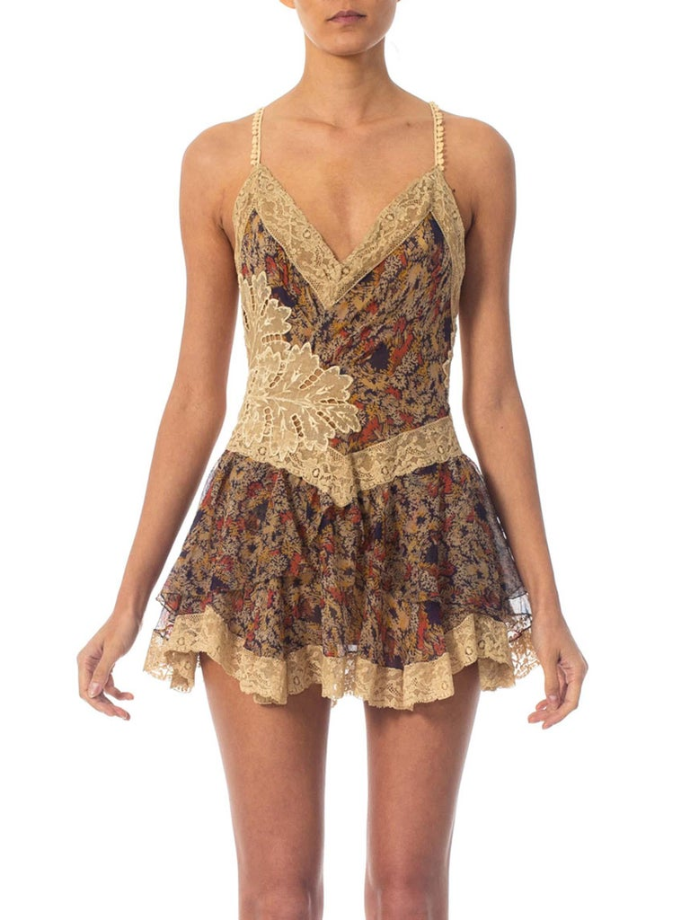 2010S Morphew Collection Silk Chiffon & Victorian Lace Mini Dress Entirely Sewn By Hand