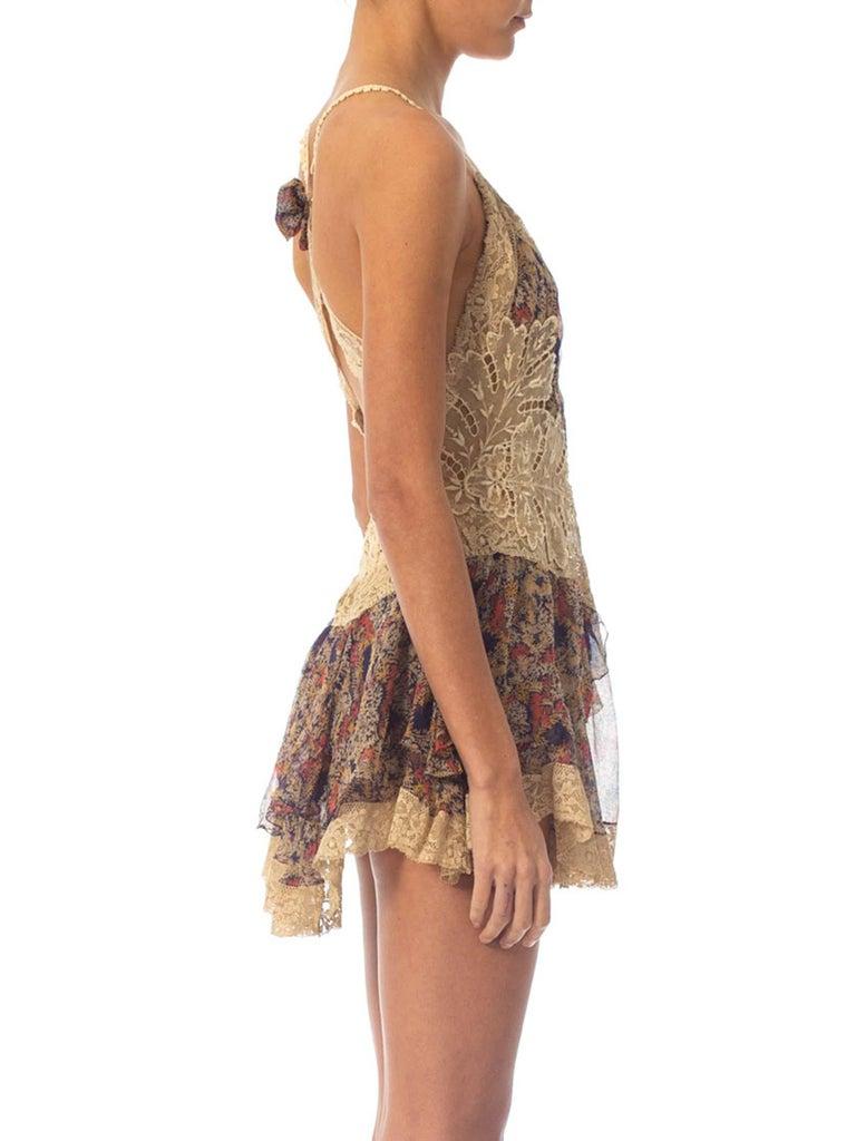 Women's 2010S Morphew Collection Silk Chiffon & Victorian Lace Mini Dress Entirely Sewn  For Sale