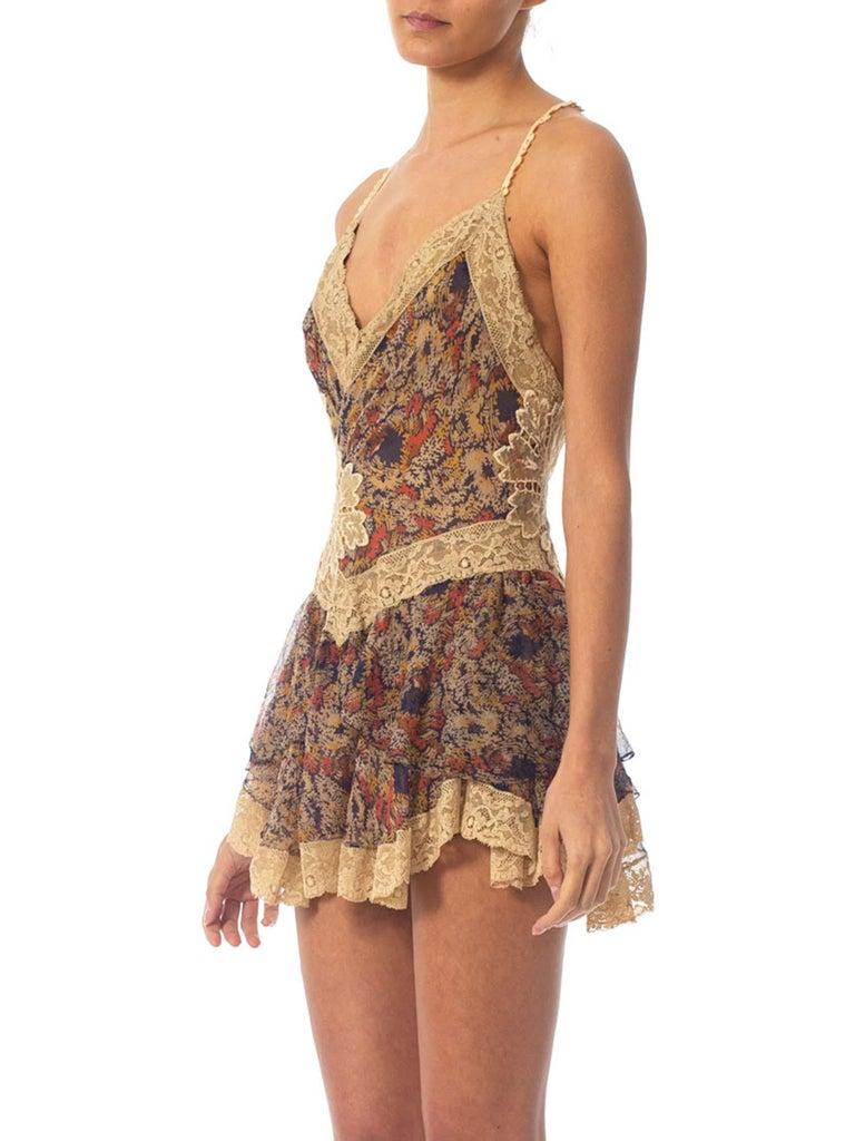 2010S Morphew Collection Silk Chiffon & Victorian Lace Mini Dress Entirely Sewn  For Sale 1