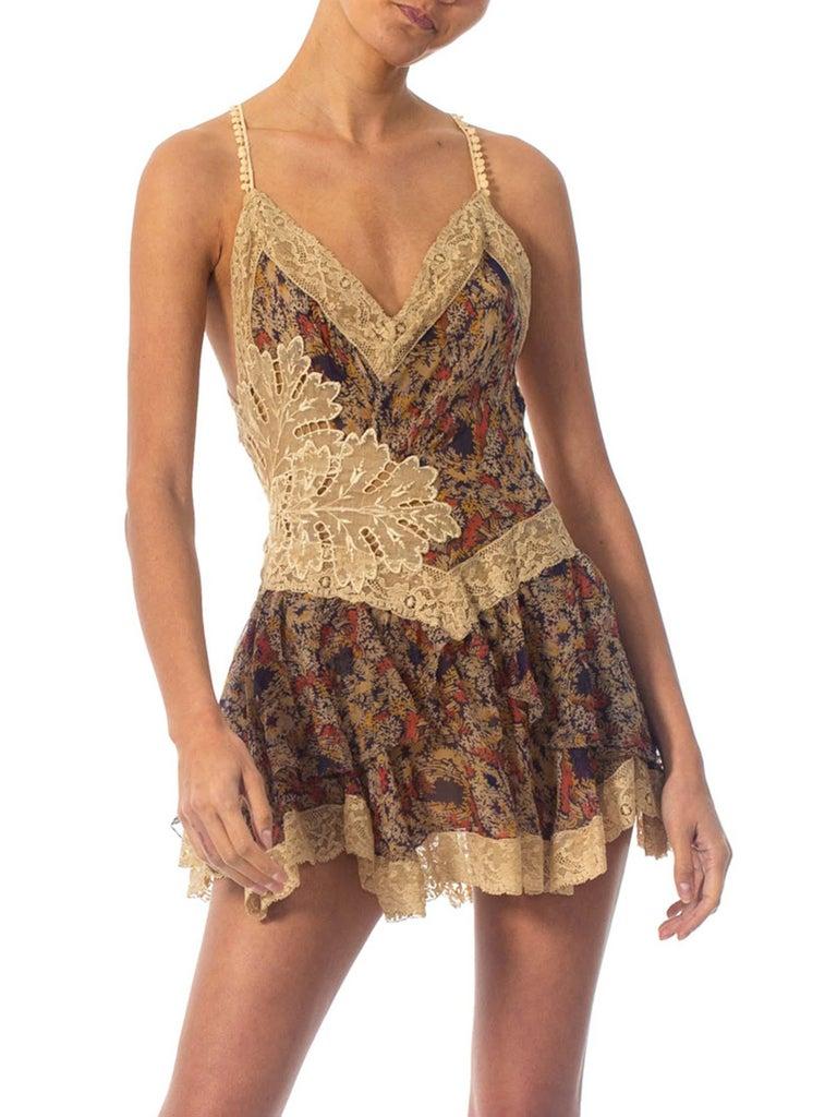 2010S Morphew Collection Silk Chiffon & Victorian Lace Mini Dress Entirely Sewn  For Sale 2