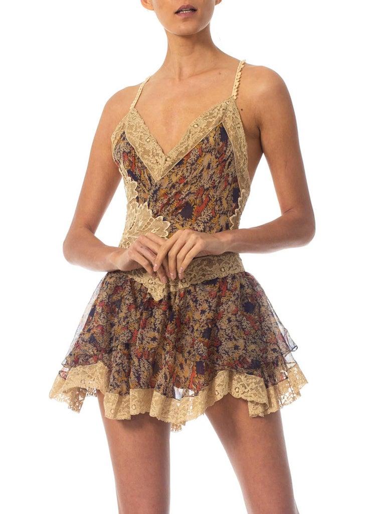 2010S Morphew Collection Silk Chiffon & Victorian Lace Mini Dress Entirely Sewn  For Sale 3