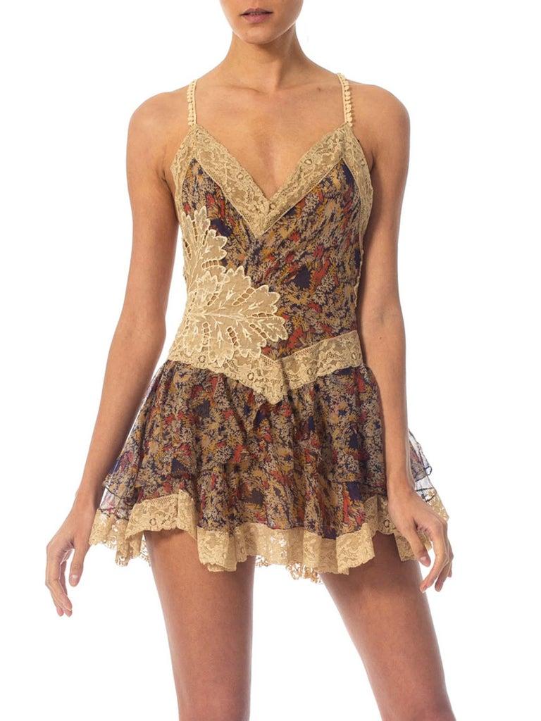 2010S Morphew Collection Silk Chiffon & Victorian Lace Mini Dress Entirely Sewn  For Sale 4
