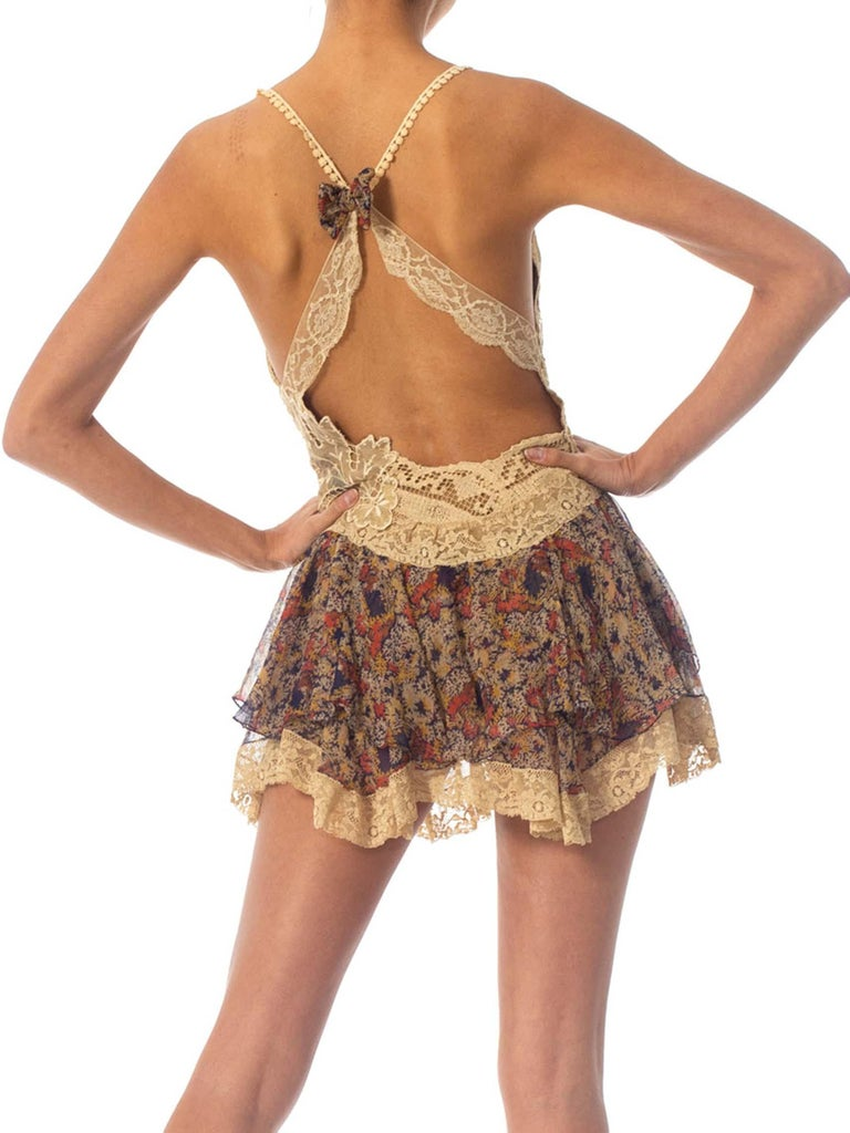 2010S Morphew Collection Silk Chiffon & Victorian Lace Mini Dress Entirely Sewn  For Sale 5