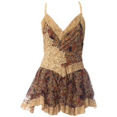 MORPHEW COLLECTION 1920S Silk Chiffon & Victorian Lace Mini Dress Entirely Sewn