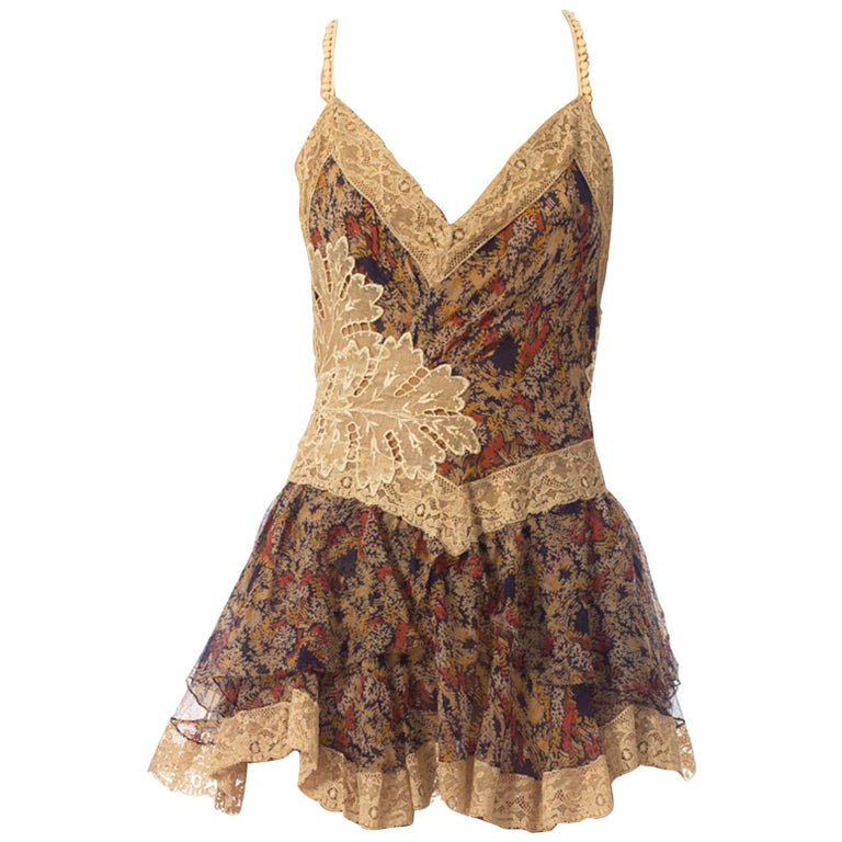 2010S Morphew Collection Silk Chiffon & Victorian Lace Mini Dress Entirely Sewn  For Sale