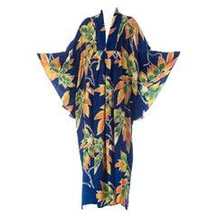 Morphew Collection Indigo Blue Tropical Floral Silk Kaftan Made From Vintage Ja