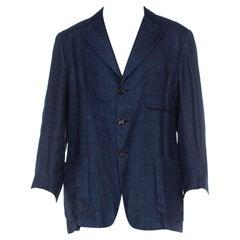 2010S Pal Zileri Denim Blue Linen Unstructured & Hand-Finished Blazer