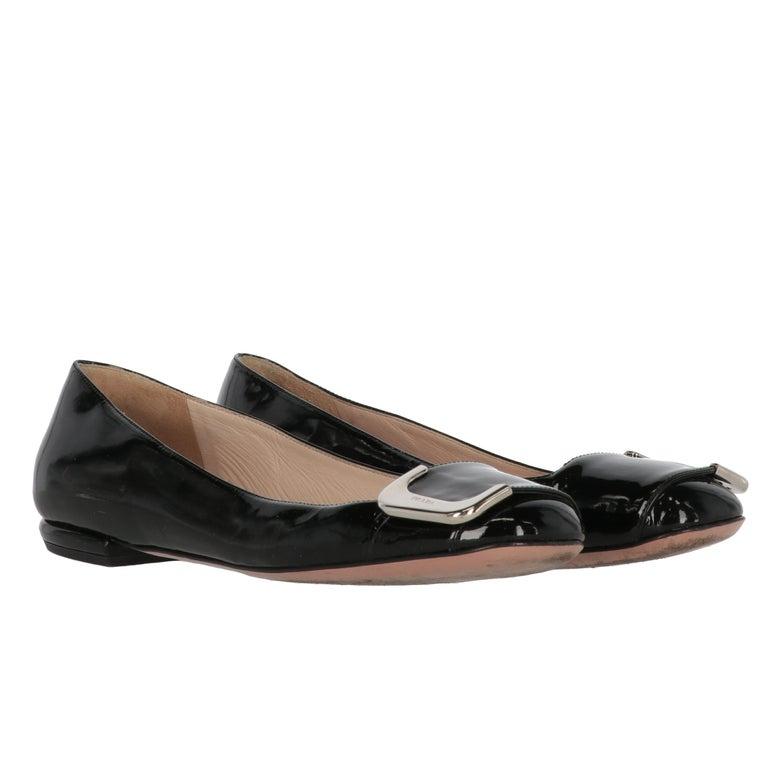 Women's 2010s Prada Black Patent Leather Ballet Flats For Sale