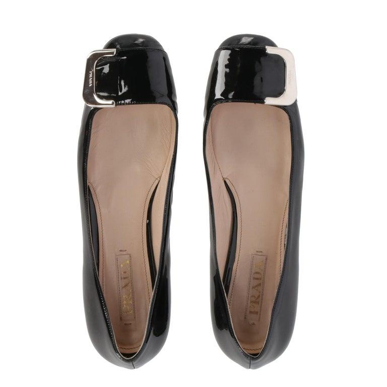 2010s Prada Black Patent Leather Ballet Flats For Sale 2