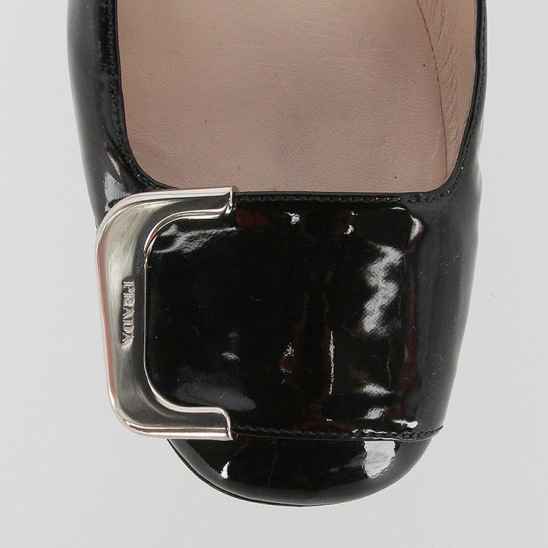 2010s Prada Black Patent Leather Ballet Flats For Sale 4