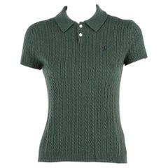 2010s Ralph Lauren Green Cashmere Polo Shirt