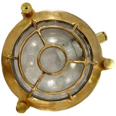 2010s Round Nautical Ship Light Sconce Cast Brass with Cage Bulkhead