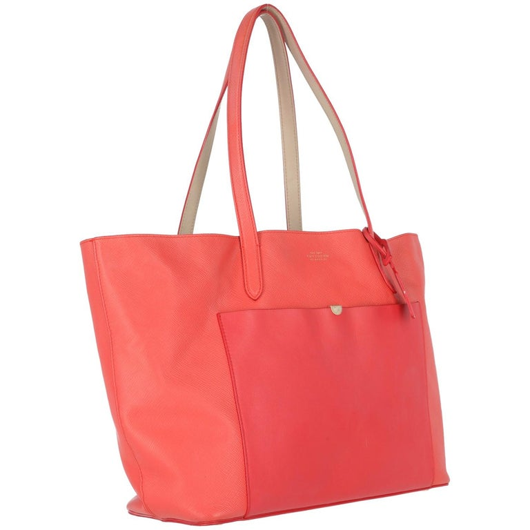 2010s Smythson Red Crossgrain Leather Tote Bag For Sale 1