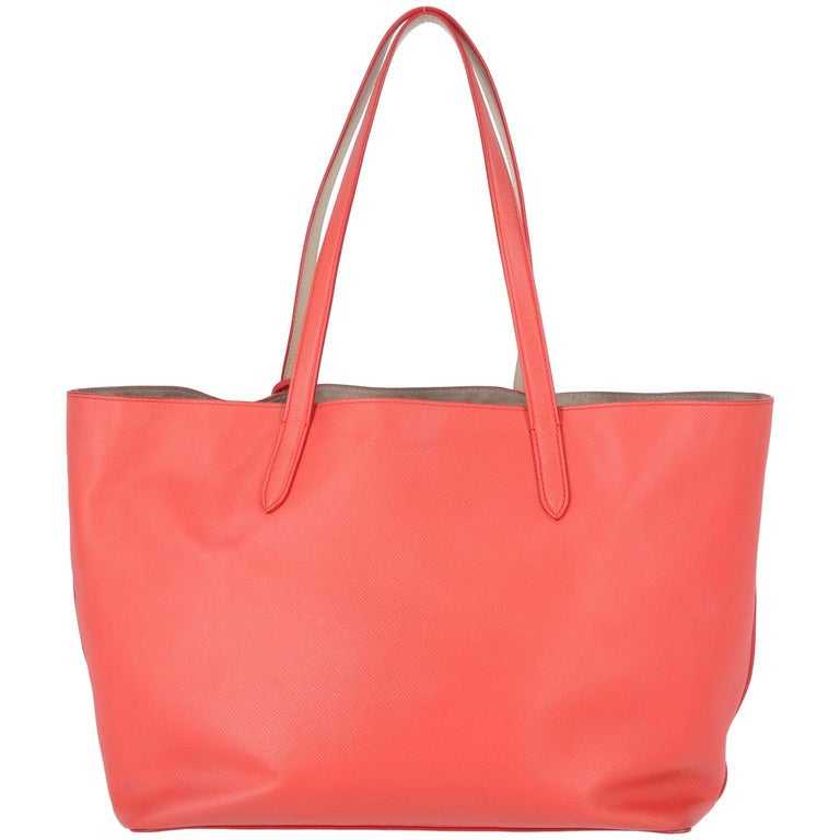 2010s Smythson Red Crossgrain Leather Tote Bag For Sale 2