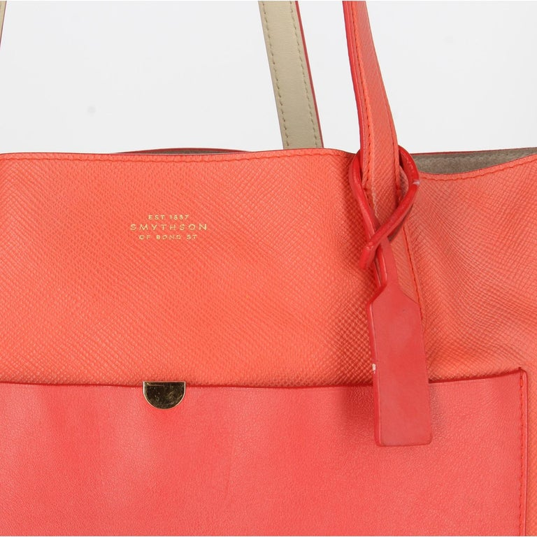 2010s Smythson Red Crossgrain Leather Tote Bag For Sale 3