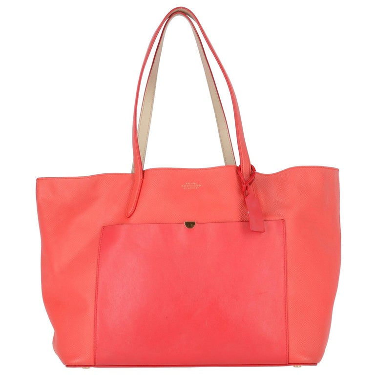 2010s Smythson Red Crossgrain Leather Tote Bag For Sale