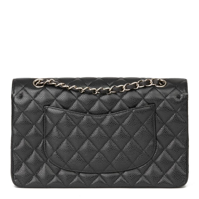 2011 Chanel Black Quilted Caviar Leather Classic Medium Double Flap Bag  1