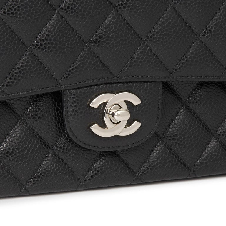 2011 Chanel Black Quilted Caviar Leather Classic Medium Double Flap Bag  3