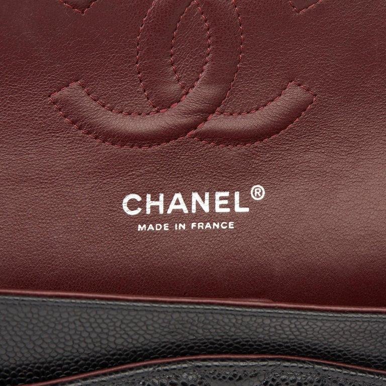 2011 Chanel Black Quilted Caviar Leather Classic Medium Double Flap Bag  5