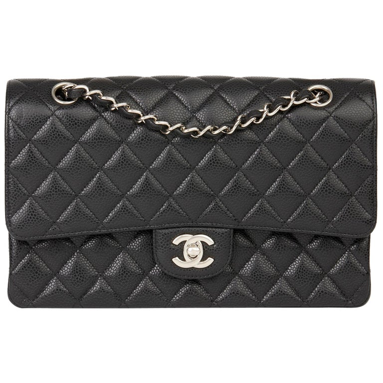 2011 Chanel Black Quilted Caviar Leather Classic Medium Double Flap Bag