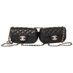 2011 Chanel Black Quilted Lambskin Double Mini Flap Bag
