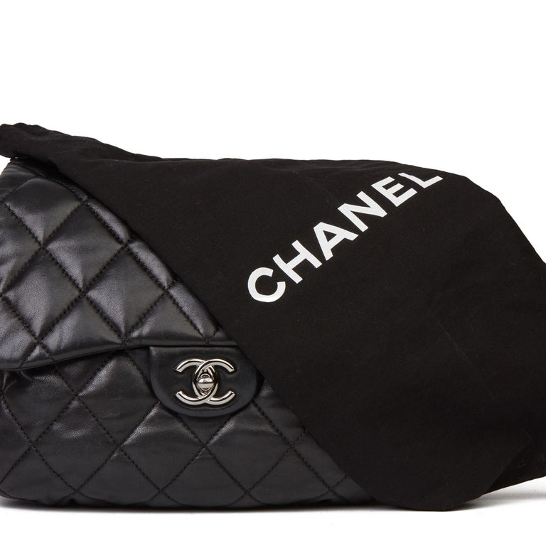 2011 Chanel Black Quilted Lambskin Triple Compartment Classic Single Flap Bag For Sale 7