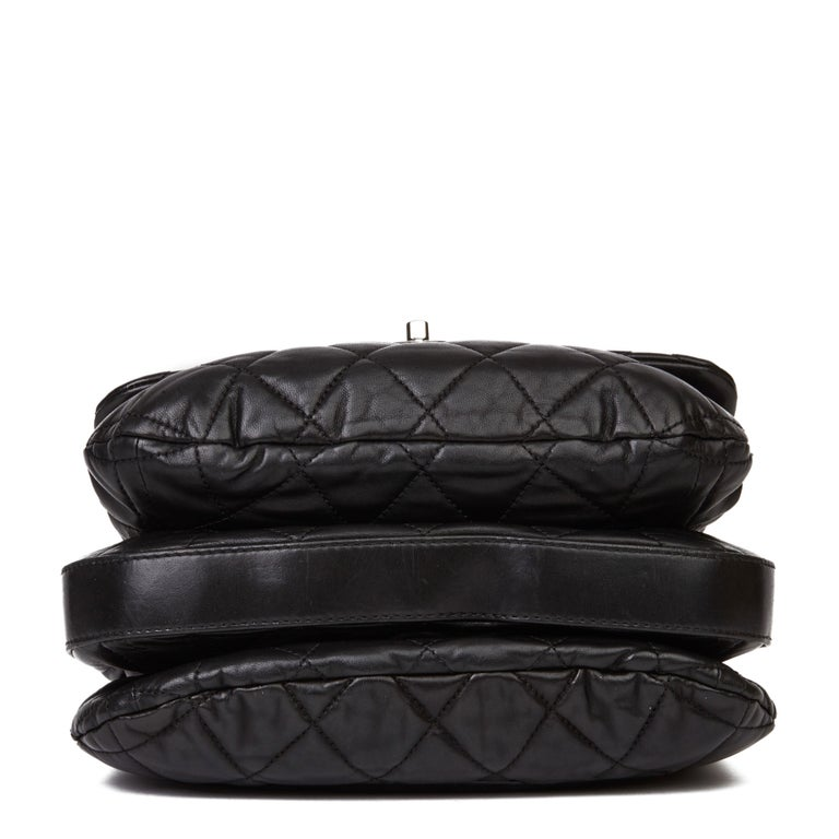 2011 Chanel Black Quilted Lambskin Triple Compartment Classic Single Flap Bag For Sale 1