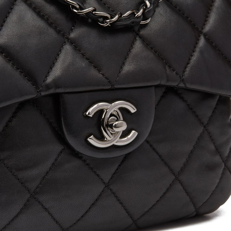 2011 Chanel Black Quilted Lambskin Triple Compartment Classic Single Flap Bag For Sale 2
