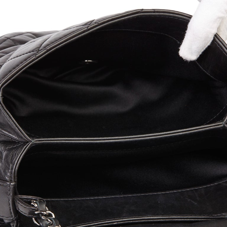 2011 Chanel Black Quilted Lambskin Triple Compartment Classic Single Flap Bag For Sale 4