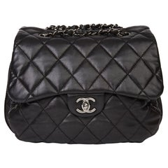 2011 Chanel Black Quilted Lambskin Triple Compartment Classic Single Flap Bag