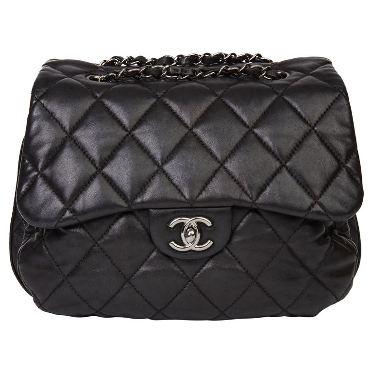 2011 Chanel Black Quilted Lambskin Triple Compartment Classic Single Flap Bag For Sale