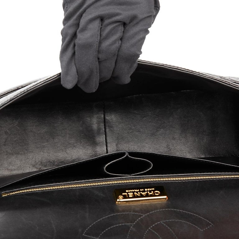 2011 Chanel Black Shiny Alligator Leather Jumbo Classic Double Flap Bag For Sale 6