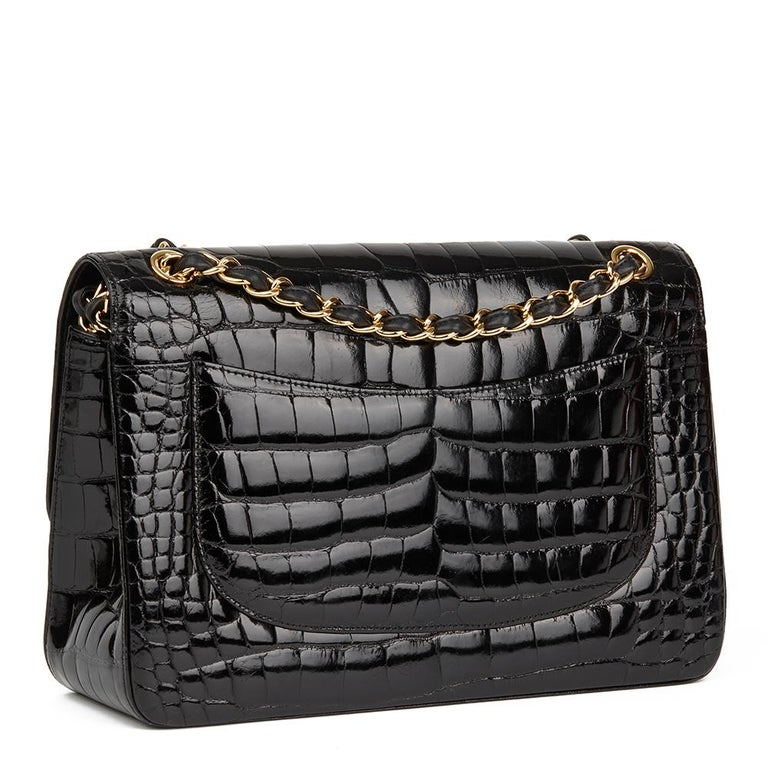 2011 Chanel Black Shiny Alligator Leather Jumbo Classic Double Flap Bag For Sale 1