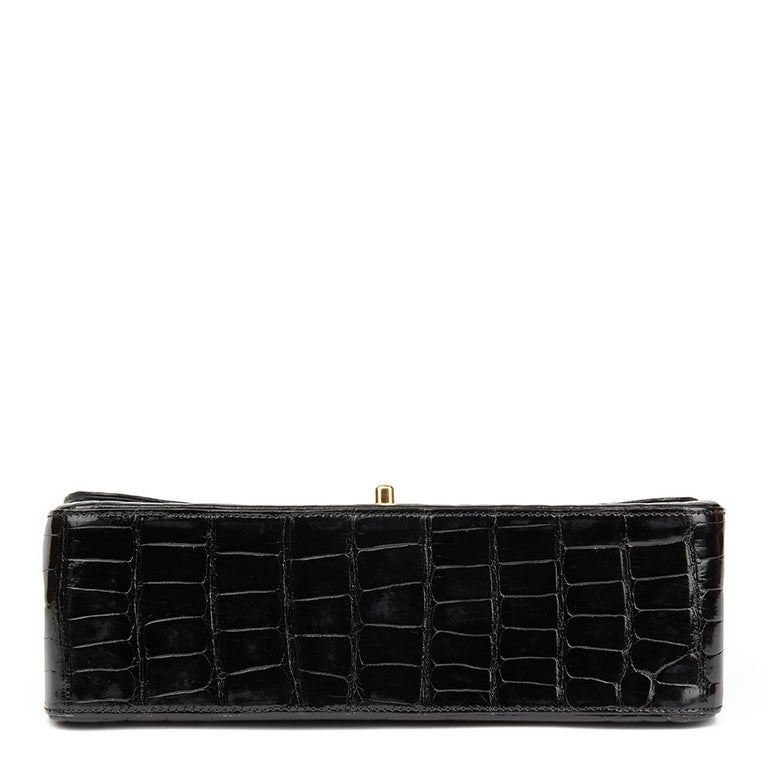 2011 Chanel Black Shiny Alligator Leather Jumbo Classic Double Flap Bag For Sale 2